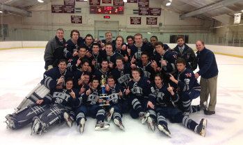 Kent celebrates after topping St. Paul's 6-2 to win the Avon Christmas Classic championship on Saturday. Senior goaltender Stephen Morrissey (.957 sav