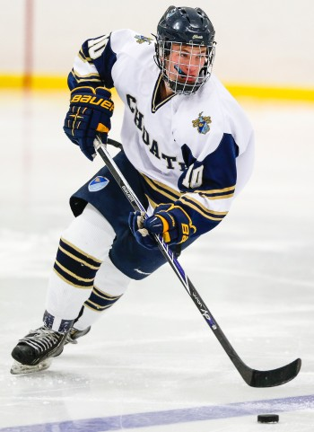 Choate senior F Jeremy Germain heads up ice.
