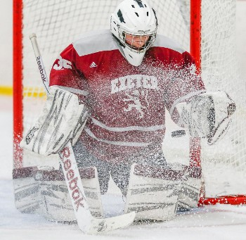 Exeter PG Bryan Botcher keeping his eyes on the puck during highly-localized blizzard.