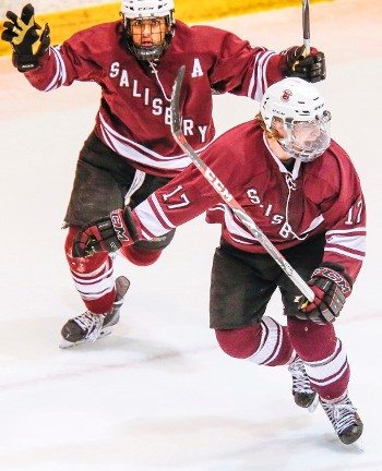Cole Poliziani (#17) scored Salisbury's first goal, assisted by Vimal Sukumaran (#11) and Jordan Kaplan (not pictured).