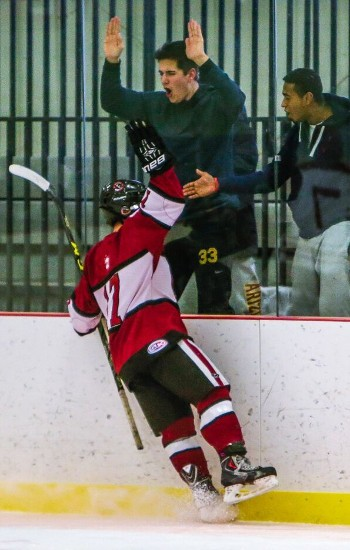 Loomis F Connor Leighton celebrates first period goal in 3-1 win over Taft Wed. Jan. 20th.