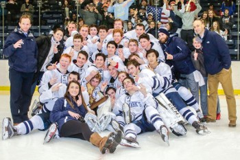 St. Mark's, which defeated Rivers 3-2 on an Ethan Kimball OT goal, celebrates its second consecutive Small School Championship.