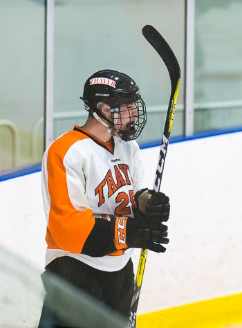 Thayer junior F Aidan McDonough celebrates his game-tying goal 11 seconds into the third period.