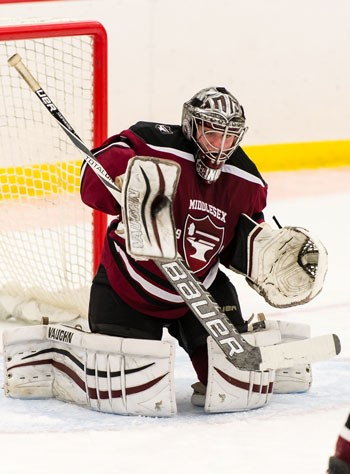 Middlesex sophomore G Joe Stanizzi kicked out 57 of 61 shots in a hard-luck 4-0 loss to Rivers on Sat. Jan. 28.
