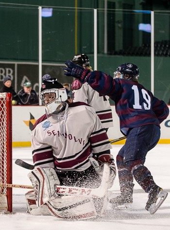 Belmont Hill senior Christian O'Neill after scoring a goal vs. Tabor Wed. Jan. 11 at Fenway.