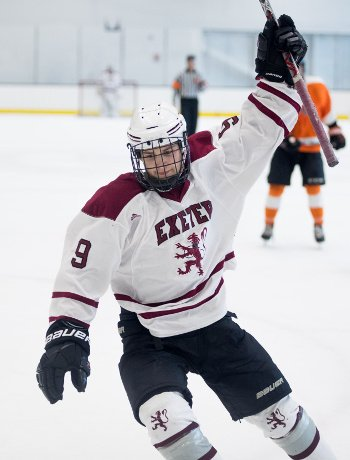 Exeter's Ted Aiken celebrates his second period goal against Thayer Tues. Dec. 19th at Warrior Arena.