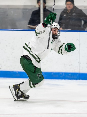 Deerfield Sr. F Tomas Zourikian (1g,2a) figured in all three of the Big Green's goals in a 3-2 OT win over KUA Saturday.