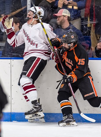 KUA's Zach Whitehead gets the better of Salisbury D Jared Crespo in Friday action at the Flood-Marr.