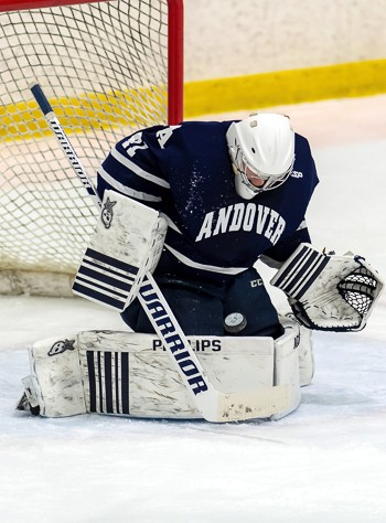 Andover G Charlie Archer (3.10, .916) had a breakthrough season last year. Now a senior, the Belleville, Ontario native is the key to Big Blue returni