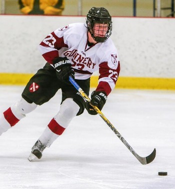 Gunnery junior F Gustaf Westlund coming up ice in Wednesday action at Avon.