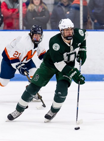 Deerfield senior D and co-captain Justin Marler in action during the Big Green's 4-3 win over Milton Academy in the 2016 Flood-Marr title game.