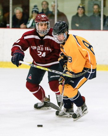 Trinity-Pawling junior -- and Dartmouth recruit -- Joey Musa (right) being defended by Avon D Jack Babbage in last year's Avon Xmas Classic.
